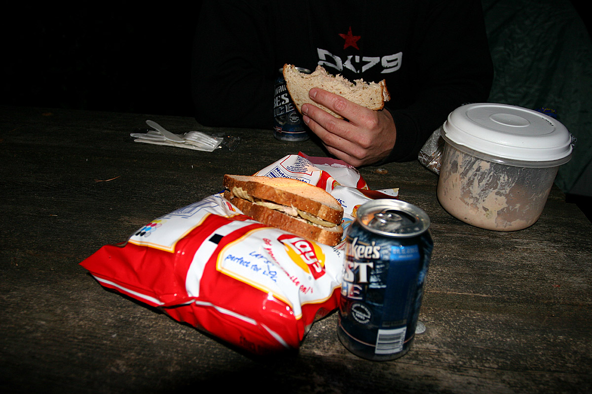 Shane was able to prepare this entire meal with plastic utensils and a head-lamp.