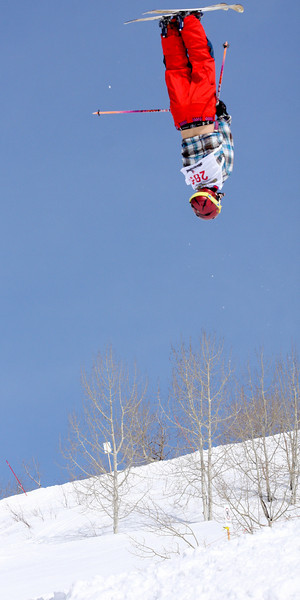 Steamboat Springs, CO: A skier completes a jump during the moguls event at Junior Nationals in 2011