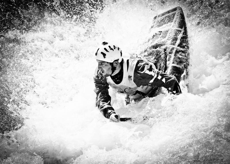 Nantahala, NC: A kayaker competes in the Freestyle Kayaking World Championships.