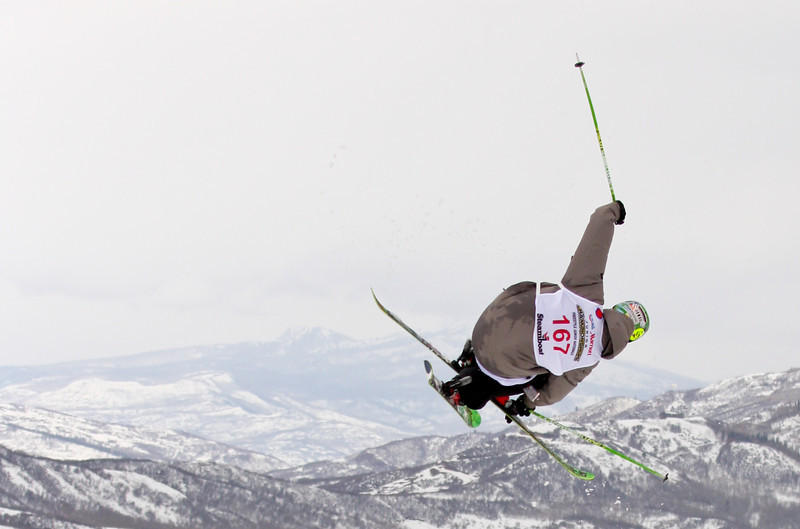 Steamboat Springs, CO: A skier completes a jump during the aerial event at Junior Nationals in 2011