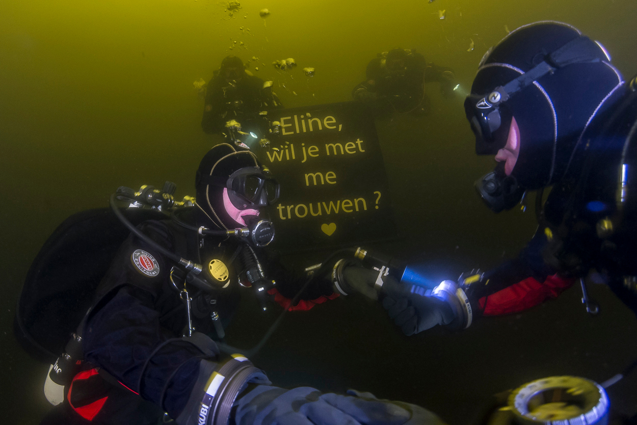 Underwater marriage proposal, Vinkeveen, The Netherlands.