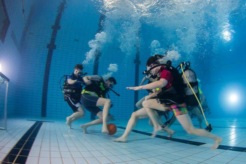 Underwater soccer training.