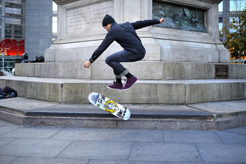 Skateboarder at Columbus Circle, NYC