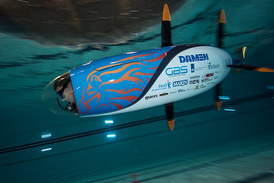 Training for world record, WASUB human powered submarine, The Netherlands.