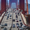 Traffic on the Golden Gate Bridge, San Francisco, California