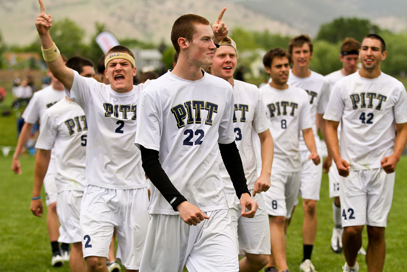Boulder, CO: Pitt celebrates after winning semis against Carleton at the D-I College Championships in 2012.
