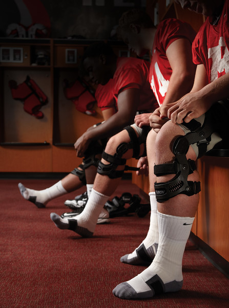 UNLV Athletics Director of Equipment and Purchasing, Paul Pucciarelli, with Breg Fusion knee braces inside the football locker room on Tuesday, November 22, 2011. Photo by R. Marsh Starks