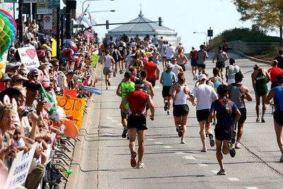 At the Chicago Marathon, just a block from the finish line...the Shedd Aquarium looms.