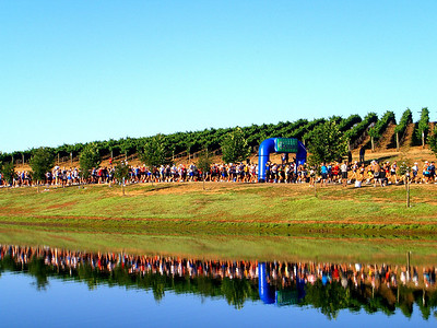 The Napa-to-Sonoma Wine Country Half Marathon has a reflective start.