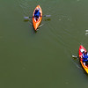 Two kayakers paddle down the Susquehanna river near Nanticoke on a lazy Sunday.
