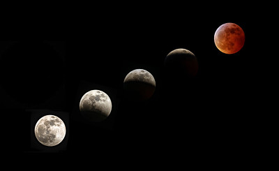 Composite - 5 phases of the Blood Moon - Lunar Eclipse as seen from Big Canoe. January 21, 2019