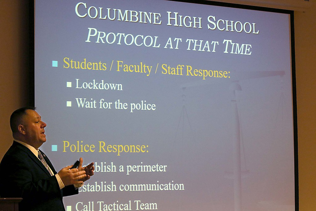 . Fitchburg State University Police Chief Michael J. Cloutier was the instructor for an active shooter response training class held in Ellis White Lecture Hall in Hammond Hall on Tuesday afternoon. SENTINEL & ENTERPRISE/JOHN LOVE