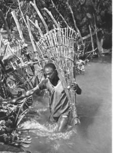 Pescador, levando a armadilha para apanhar peixe no rio Luachimo