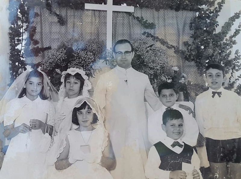 Paula Costa, Maria de Jesus Brito, Padre....?, Joaozinho Valente,  Antonio Manuel, Paula Botelho, à frente Zé Poeira