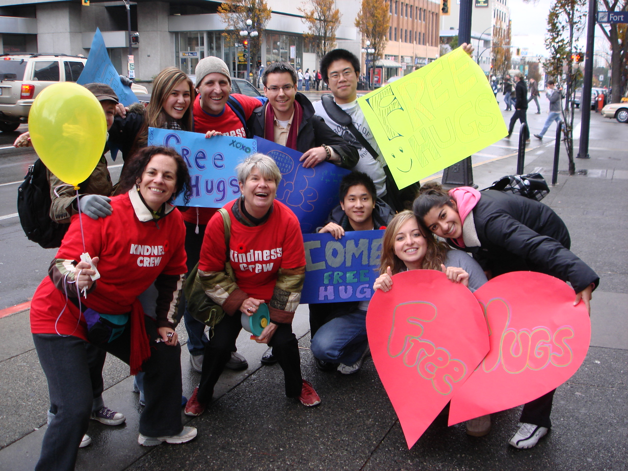 """Kindness spreads like wildfire! This is a kindness group from Vancouver (""""Free Hugs"""") that formed spontaneuously after being inspired by some random acts of kindness."""