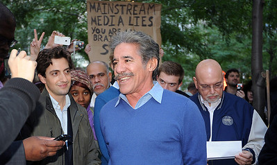 The day Geraldo came by people were giving him a hard time, as the sign being held above his head shows.  He defended himself by saying: 'We're the only ones who have shown WTC 7 coming down in prime time and I supported NYCCAN RememberBuilding7.org initiative.' I asked him why that was and he said because 'almost nothing gets on the air that is not first approved by the higher-ups' and the copy desk.  Despite journalism (in the name of, 'a free press') being the only non-official profession mentioned in and protected by the Constitution, we do not have a 'free press' in America today, in terms of diversity of opinion. In 1980 approximately 50 different companies owned the various news, print, and radio media in the US. Today, the lot is owned by 5 or 6 multinationals. Many of whom have subsidiaries and business interests that are in direct conflict with the open reporting of the news.  So we find a whole slew of crucial stories that get ignored or the context is so skewed as to completely misrepresent the truth.  'Omission is the most powerful form of lie.' George Orwel.l.  For example:  British Uncover Operation in Basra: Agents Provocateurs?  Message Machine Behind TV Analysts, Pentagon's Hidden Hand - NY Times 2008