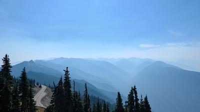 Layers of mountains among the smoke