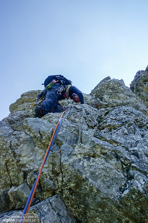 9th pitch, Bayerländerweg. Steep start just to the left of the belay stand.