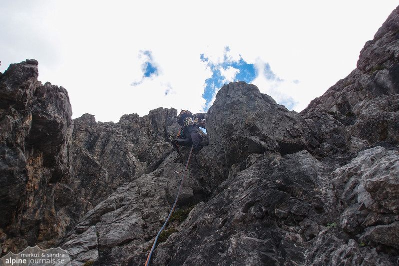 Pitch 3 (III+, 50m) was solid and enjoyable, at Herbstsonne.
