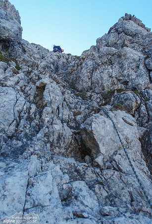 A gully with some rather loose but easy climbing. Heading for the first (north) summit of Kleiner WIdderstein.