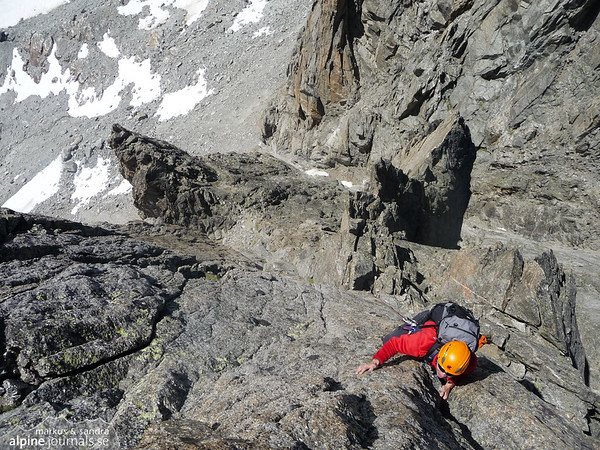 Markus at the south west face of Aiguille d'Orny.