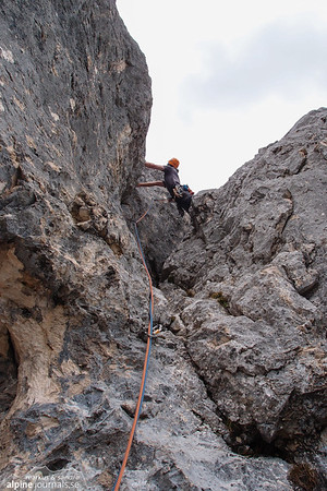 "7th pitch of ""Via Anita"". A grade 4 chimney. About 30 m."