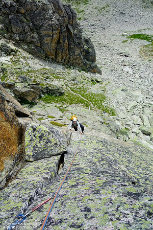 Sandra coming up the 2nd (4b) pitch of Blaue Linie. Beautiful, easy climbing, perfectly well protectable.