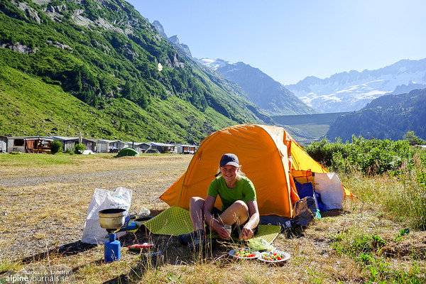 Happy cooking! The camping by Gwüest is recommendable. A little stream runs right next to our tent, and we're surrounded by mountain ridges. But if you go here, don't forget to bring tissues for the loo!
