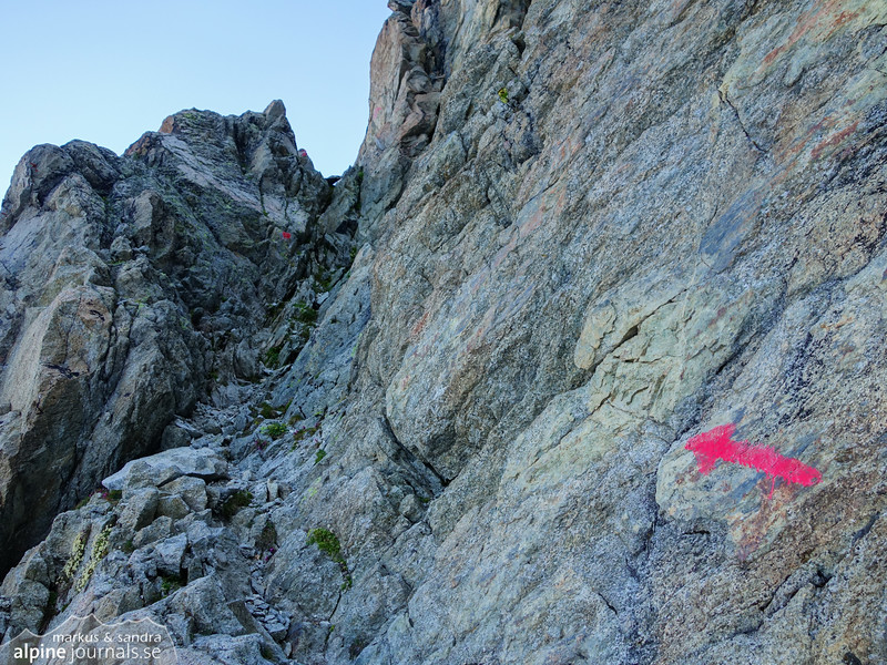 Start of both the southwest ridge and the normal route, marked with an arrow.