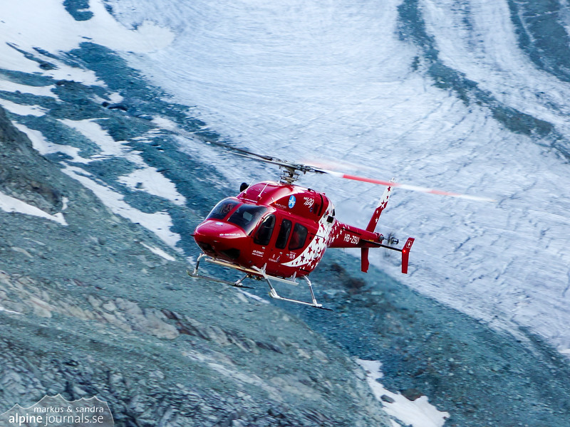 Helicopter rescue of a man who was hit in the face by a stone on approach to the hut. He had ascended with a partner over the Glacier de Zinal.