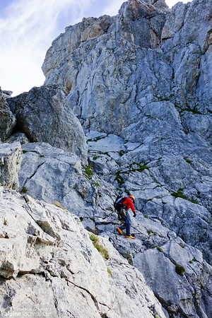 Scrambling up to Sohmplatte, the start and highlight of the tour