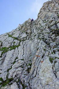 Last pitch abseiling down Zimba NO-grat