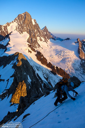 Descending Oberaarhorn early morning