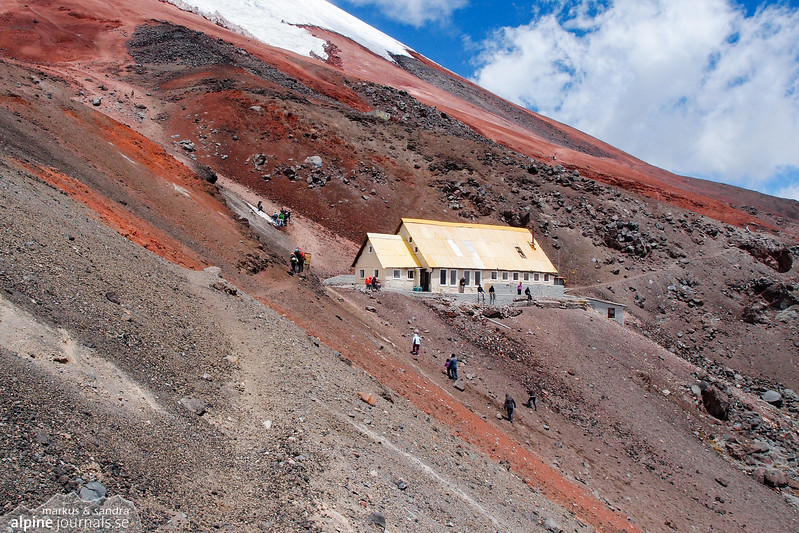 Refugio José F Ribas at the northern slope of Cotopaxi.