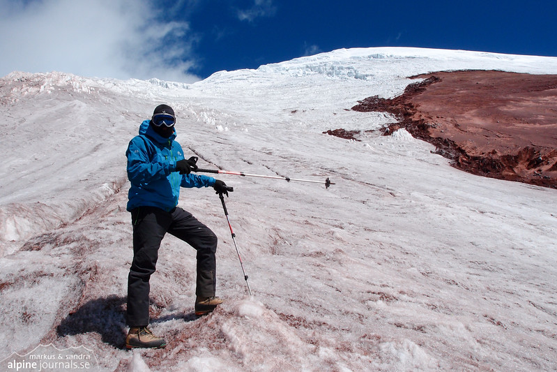 Our path to Cotopaxi summit as seen from the glacier tongue. It looked so simple during daytime...
