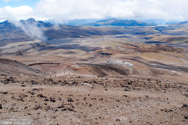 Hiking to the hut on Cotopaxi is popular due to the easy access