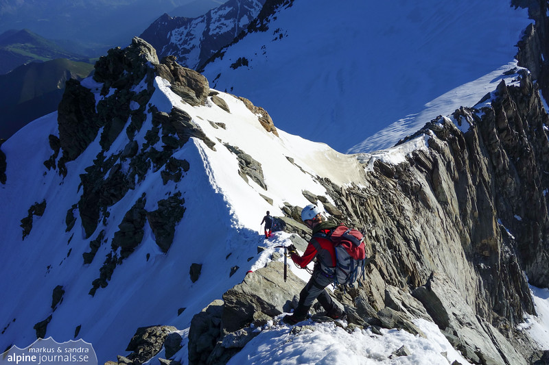 Descending from Aiguille de la Berangere to the col.