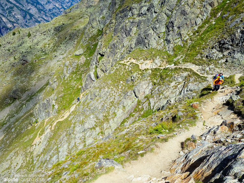 The ascent to the Dom hut is very steep and includes stretches of Via Ferrata.