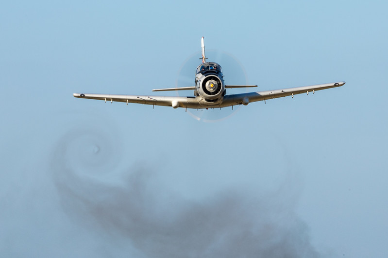 Smokes shows the votices generated by the Skyraider's wake as it does another low-level pass.