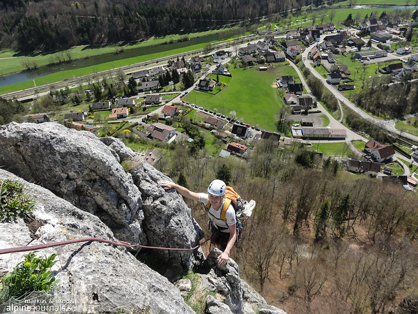 "Stuhlfels, As our very first ""alpine"" multipitch, we did Normalweg, 3+, 4 pitches (5 pitches with Vorgipfel). Good for a warmup!"