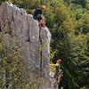 Eigerturm Westwand. Climbers on Mademoiselle as seen from Zulliverschneidung, 5.
