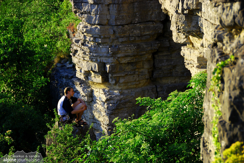 A moment of happiness among the rocks, while sport climbing in Hessigheim
