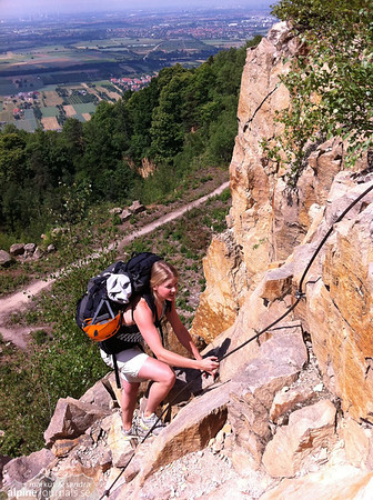 Mobile photo of the via ferrata to the higher levels of climbing at Schriesheim.