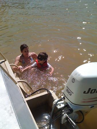 Mr. cool having a swim in the lake