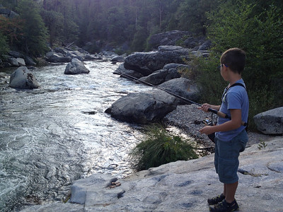 Fishing river trout for the first time