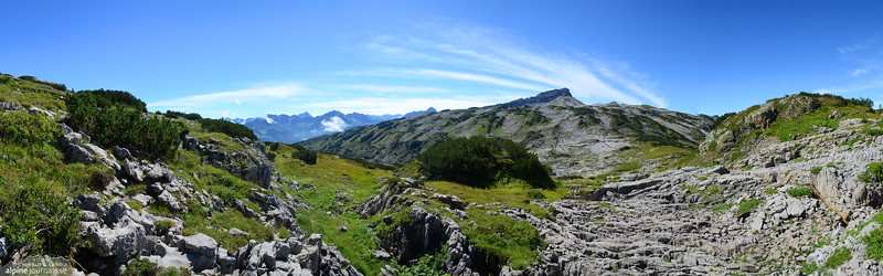 Panorama over the Gottesacker plateau to Hohe Ifen.