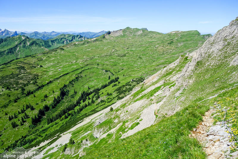 The path descending from Hohe Ifen to Schwarzwassertal. The highest-looking summit behind, near the middle of this picture, is Hählekopf.