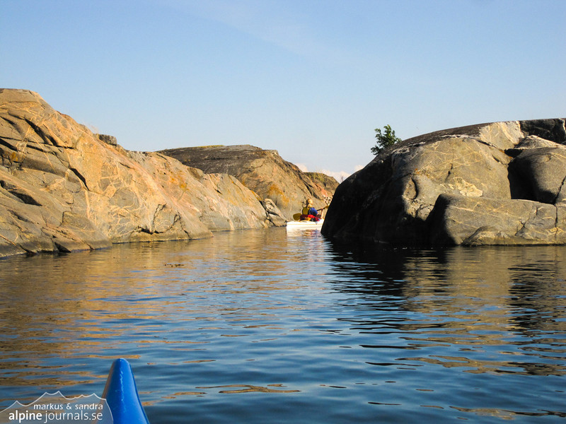 Hide-and-seek with kayaks, among islets in the Stockholm Archipelago.