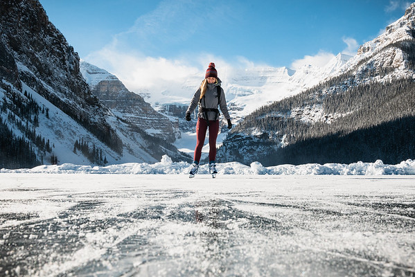 Skating on Frozen Lake in Banff NP, Alberta 2020