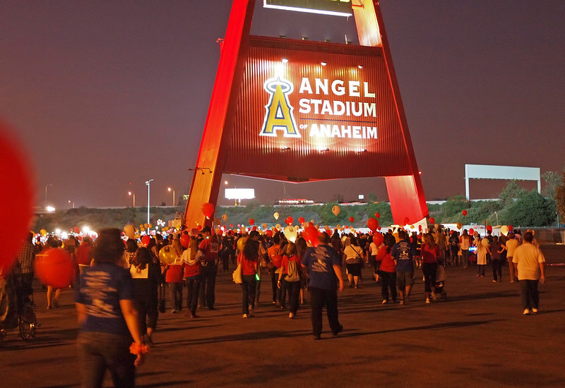 First leg of the walk was through the Angel Stadium parking lot at Light The Night - 17 Sept 2011